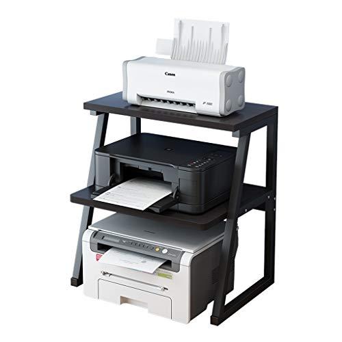 Printer Shelf Desktop Office Copy Rack Multi-function Shelf Double Floor Small Simple Storage Rack (Color : Black, Size : 60 * 34 * 64cm)