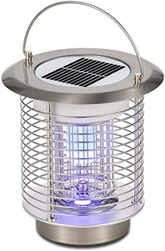 White Kaiman Solar Powered Mosquito Killer Lamp for Outdoors - Stainless Steel Portable 1.2W LED Waterproof Bug Zapper Lantern