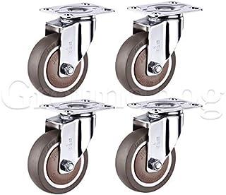 4 Stks 3 Inch TPR Swivel Caster Wielen Heavy Duty Met Veiligheid Dual Casters, Met Rem Geen Geluid Afsluitbare Wielen (Kle...