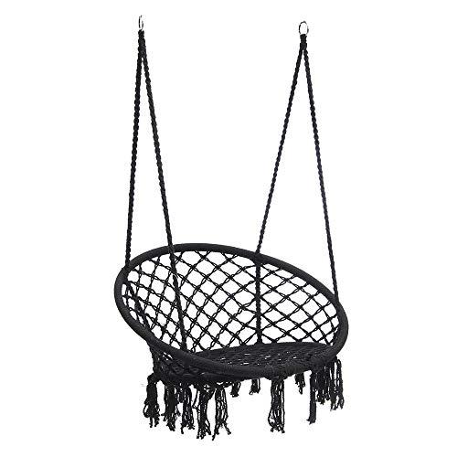 Hangmat MYKK Nordic stijl zwarte hangmat ronde mesh hangstoel binnenslaapkamer Tuinmeubilair Tuinschommelstoel voor kinderen Volwassen 120 * 80cm Zoals afgebeeld