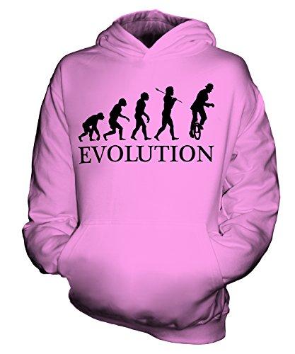 Candymix Einrad Evolution des Menschen Unisex Kinder Jungen/Mädchen Kapuzenpullover, Größe 7-8 Jahre, Farbe Rosa