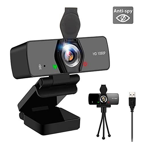 Adhop - Webcam HD 1080P con microfono, per streaming webcam per PC/desktop, USB Plug & Play, per videochiamate, conferenze, compatibile con Windows/Linux/Mac OS/Android (con copertura e treppiede)