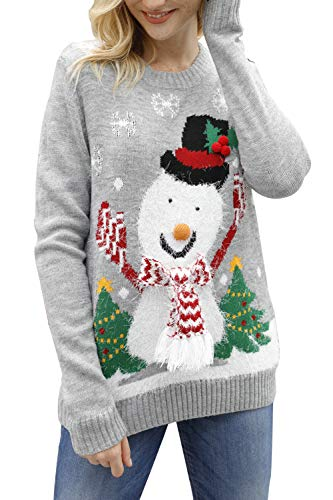 Viottiset Women's Ugly Christmas Knitted Sweater Pullover Jumper Grey Snowman Funny L