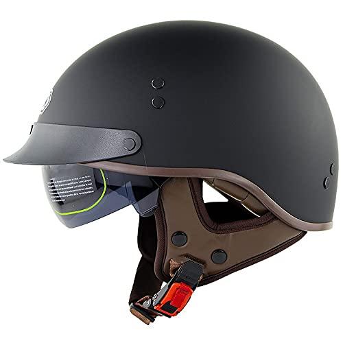 ACLFF Retro Jethelm Motorrad Halbhelme Roller Helm, ECE-Zulassung Männer und Frauen Motorrad-Helm mit Visier Schnellverschluss-Schnalle, für Fahrräder, Motorräder und Roller 56-63CM