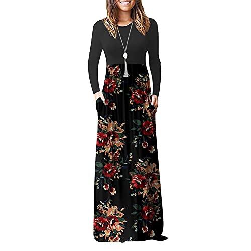 Carolui Frauen Blumendruck Patchwork Langarm Maxi Kleid Damen Herbst Winter Casual Rundhals Maxi Kleider(Rot,L)