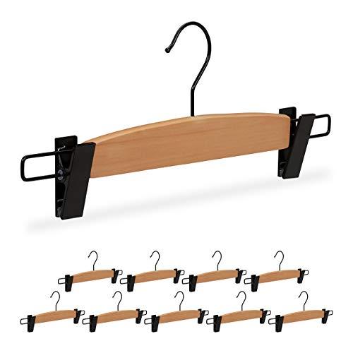 Relaxdays Hosenbügel Design mit Klammer, 10 Stück, Damen & Herren, edle Rockbügel, Größe L 35,5 cm breit, natur/schwarz, Large