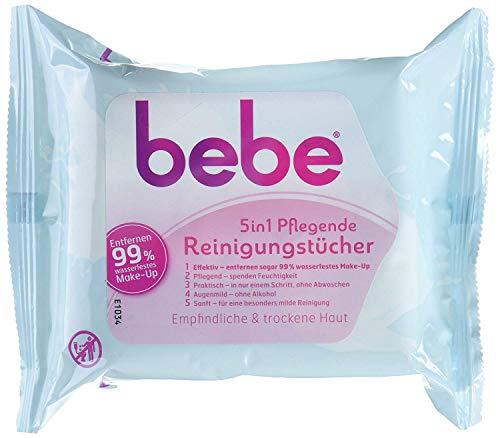 bebe 5in1 Pflegende Reinigungstücher – Abschminktücher für empfindliche & trockene Haut – 3 x 25 Stück