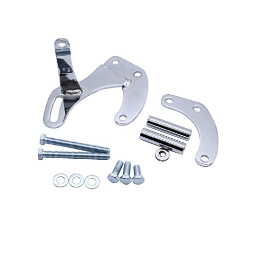 SWP Power Steering Pump Bracket Chrome Compatible for SBC SB Chevy 283 305 327 350 383 400 With Short Water Pump