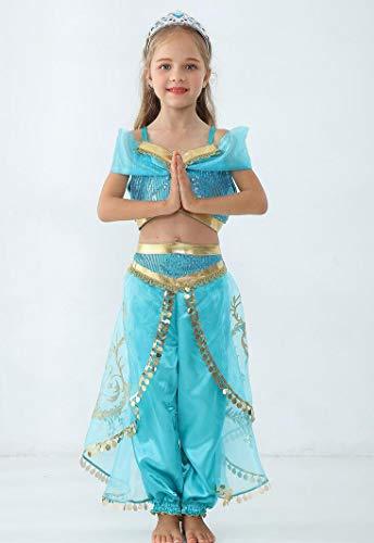 SMACO Aladdin Jasmin Kostuum Kids Kind Meisjes Jasmijn Prinses Kostuums Halloween Party Buik Dans Jurk voor Kinderen Meisjes Cosplay