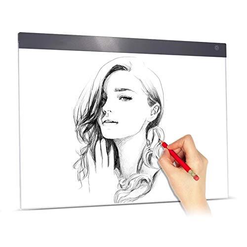 Tavolo da Disegno A LED A2 LED Light Pad Box Painting Tracing Panel Regolabile Luminosità USB (Colore : Black, Size : One Size)