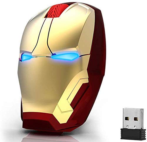 Ergonomic Wireless Mouse Cool Iron Man Mouse 2.4 G Portable Mobile Computer Click Silent Mouse Optical Mice with USB Receiver, Multi-Color Choosing for Notebook PC Laptop Computer Mac Book (Gold)