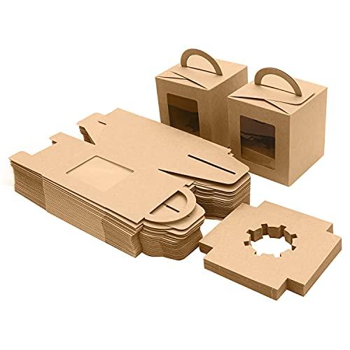 BELLE VOUS Caja de Papel Kraft Marrón con Asa para Pastelería Individual (Pack de 50) - Cajas Cupcakes con Ventana 9,39 x 9,39 x 10,66 cm - Cajas Desechables para Galletas, Magdalenas, Postres