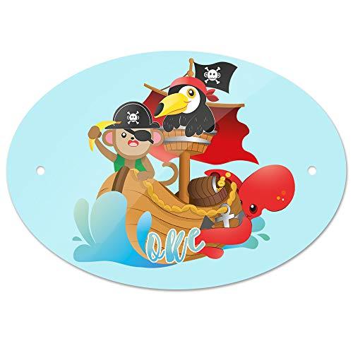 Eurofoto Türschild mit Namen Oke und Tier-Piraten-Motiv   Kinderzimmer-Schild