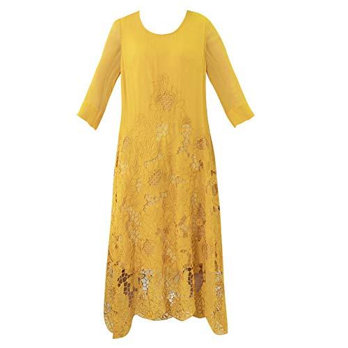 BINGQZ Cocktailjurken Opengewerkte geborduurde zijden jurk vrouwelijke zevenpunts mouw losse grote lente zijde grote schommel jurk