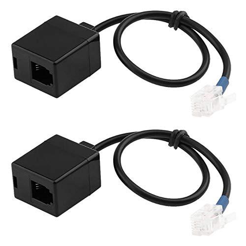 Camisin Cavo Splitter Adattatore 2Pz Rj9 Cavo Prolunga 4P4C da Spina un Presa per Sequenza di Cavi Telefonici Avaya 0,25 M