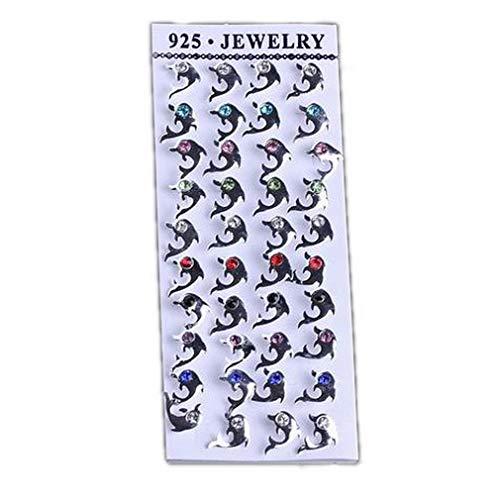 Bigood - Caja de 20 pares de pendientes de plata de ley 925 con forma de delfín para mujer