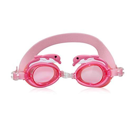 Gafas de natación Niños Gafas de baño Gafas de natación Gafas de sol Anti Fog Protección UV Mascarilla de entrenamiento para niños Cajas de gafas Bee Cangrejo Pescado Dolphin durable ( Color : Pink )