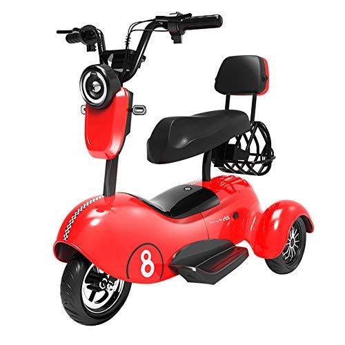 Xiaokang Señoras Hermoso Pequeño Triciclo eléctrico Scooter Pick Up Children Mini Small Damas Skateboard Battery Car,Rojo