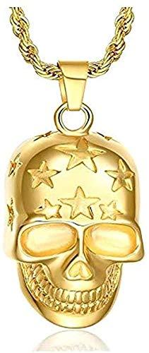 WSBDZYR Co.,ltd Collar de Moda Hip Hop Rock Stlye Color Dorado Titanio Acero Estrella Calavera Collares Pendientes para Hombres Joyería de Rapero Hombre Oro