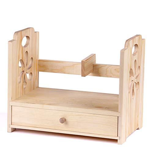 Étagère en bois massif créative sur la table, étagère simple de bibliothèque d'étagère de stockage de bureau (Color : Natural)