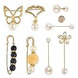 feixun Sweater Shawl Clips Set - Faux Pearl Brooch Pin, Cardigan Collar Brooch Clip for Women (Pearl Brooch Set)