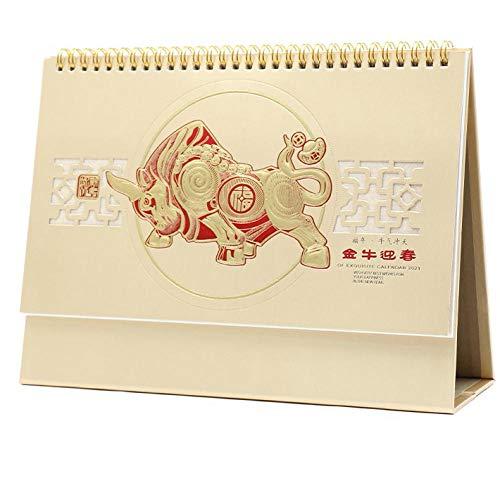 Calendario 2021 Apuntar Chinos Año Nuevo 2021 Calendario Papel 2021 para el Año Lunar del Buey,27x8x17.5cm,Patrón de Vaca de Estilo Chino Calendario 2021 Vista de Mes para Oficina Y Hogar | Papel Gru