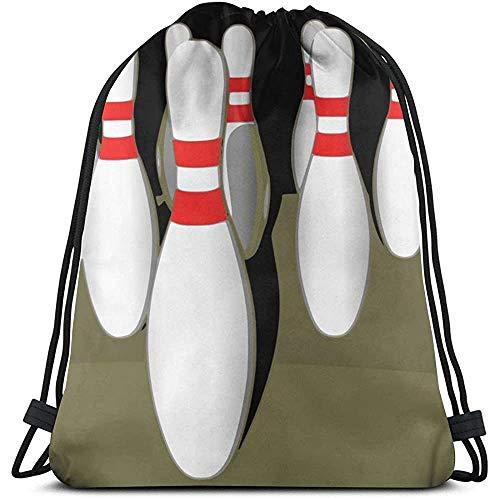 GeorgoaKunk Kordelzug Rucksack Bowling 3D-Druck String Bag Sackpack Cinch Tragetaschen Geschenke für Frauen Männer Fitnessstudio Einkaufen Sport Yoga