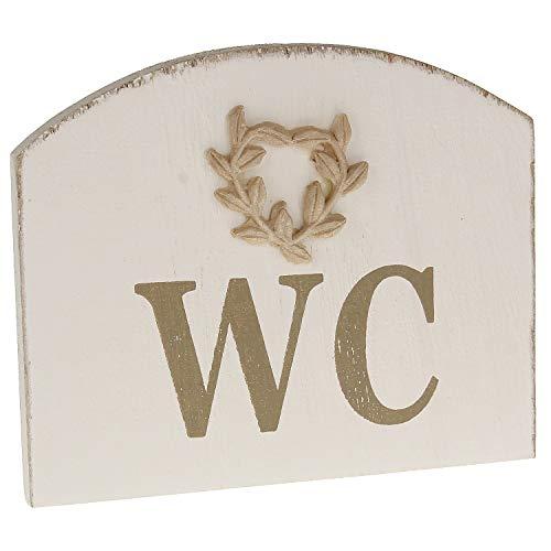 MACOSA BGT05731 WC Tür-Schild aus Holz rustikal 12 x 10 cm Landhaus Holzschild Hinweisschild Dekoschild Türdeko Deko-Accessoire Toiletten-Schild