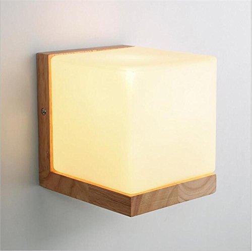 NIHE E27 chambre moderne lampe lampe en verre de chevet créatif moderne chambre salon lampe murale couloir LED bois