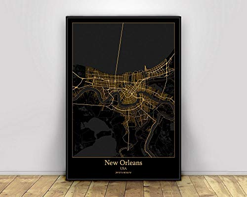 Prints Canvas, New Orleans Usa Black&Gold City Light Maps Custom World City Map Poster Canvas Prints Nordic Style Wall Art Home Decor,40 * 60cm