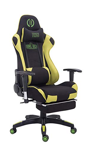 CLP Silla Gaming Turbo En 3 Tapizados Disponibles I Silla Gamer Giratoria & Regulable En Altura, Color:Negro/Verde, Material:Tela
