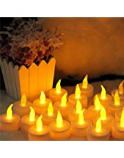 مجموعة من 8 الصمام ضوء شمعة عديمة اللهب رومانسية الطرف الأصفر