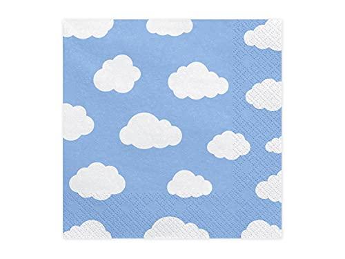 PartyDeco Papierservietten Airplane Blau mit bedruckten Flugzeugen- Dekoration Servietten für Geburtstag Taufe Geburtstag- Tischdekoration Tischsets Taschentücher bedruckt Einweggeschirr