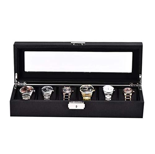 Inicio Accesorios Caja de reloj para hombres 6 ranuras para relojes Organizador de joyas Caja de exhibición de reloj de fibra de carbono Almacenamiento con hebilla de metal con cierre superior