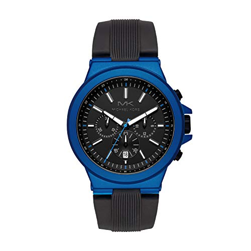Michael Kors Men's Dylan Stainless Steel Quartz Watch with Rubber Strap, Black, 26 (Model: MK8761)
