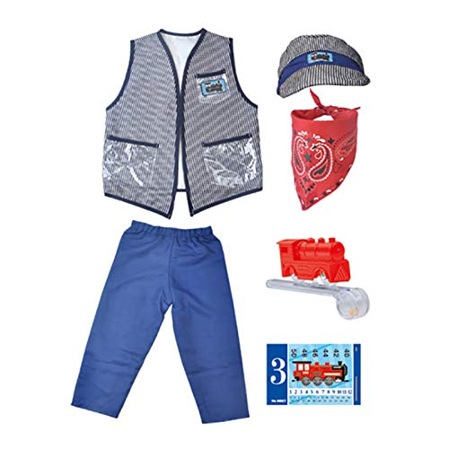 chora Costumes Baby's Train Engineer Toddler Costume Children's Day Clothing Props With Cap And Accessories Best Children's Days Gift For Girls And Boys current