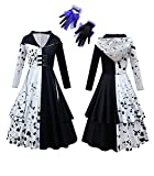 Girls Cosplay Costumes Cruella Deville Dresses Halloween Fancy 101 Dal_matians Party Dress Up for Kids Cute Spotted Dog Role Play Outfits with Gloves Christmas Birthday Gift X-Large