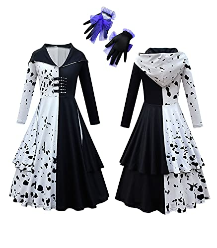 Costumes for Girls Deville Cosplay Dress Up Halloween Party Fancy Spotted Dresses Long Sleeve Polka Dots Devil Role Play Outfits with Full Gloves Large