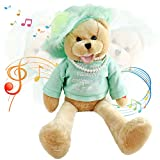 """Houwsbaby Musical Teddy Bear with Pearl Sings """"That's What Friends are for"""" Interactive Stuffed Animal Shaking Head Animated Plush Toy Gift for Kids Toddlers Mother's Day Birthday, 20'' (Green)"""