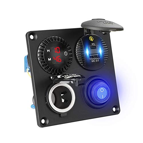 Panel de interruptores basculantes marinos 4en1 a prueba de agua con voltímetro digital 4.2A Dual USB&PD Charger Toma de encendedor de cigarrillos para RV/Coche/Barco/Vehículos/Camión/Remolque/Yate