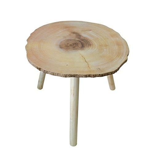 CVHOMEDECO. Rústico primitiva portátil de madera redonda mesa de café mesa de té extraíble mesa redonda KD con 3 patas desmontables. 41,9 x 39,4 x H 36,8 cm