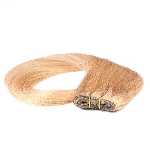 hair2heart Tresse / Weft aus Echthaar, 100g, 50cm, glatt - Farbe 12 honigblond