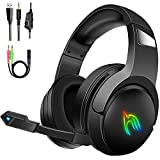 Auriculares Gaming PS4, Cascos Gaming RGB Stereo con Micrófono, 50mm Drivers, Ruido Reducción, Compatible con Xbox One/PC/Tableta/Nintendo Switch