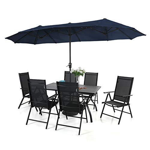 PHI VILLA 7 Pcs Patio Dining Set and 13ft Large Rectangle Patio Umbrella, 6 Outdoor Reclining Folding Sling Chair with Armrest & 1 Rectangle Metal Outdoor Dining Table for Lawn Garden (Navy Blue)