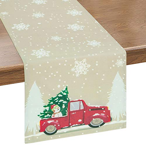 Bateruni Winter Snowflakes Table Runner, Christmas Tree Truck Table Runner, Heat-Resistant Table Cloth for Dining Room Party Banquet 14x72 Inches