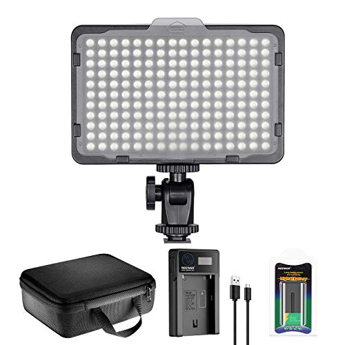 Neewer 176 LED Luz de Video Iluminación Kit: 176 Panel LED Regulable, con Batería de Li-Ion 2200mAh,…