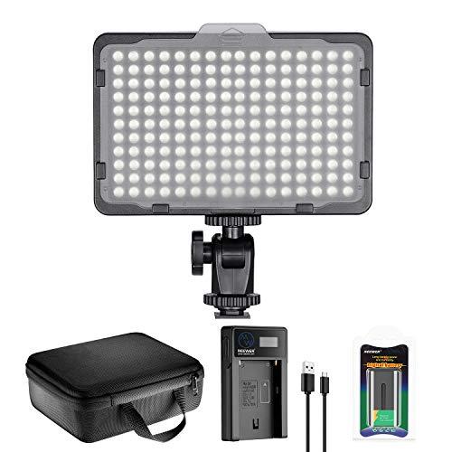 Neewer 176 LED Luz de Video Iluminación Kit: 176 Panel LED Regulable, con Batería de Li-ion 2200mAh, Cargador de Batería USB y Estuche para Fotografía de Producto y Retrato
