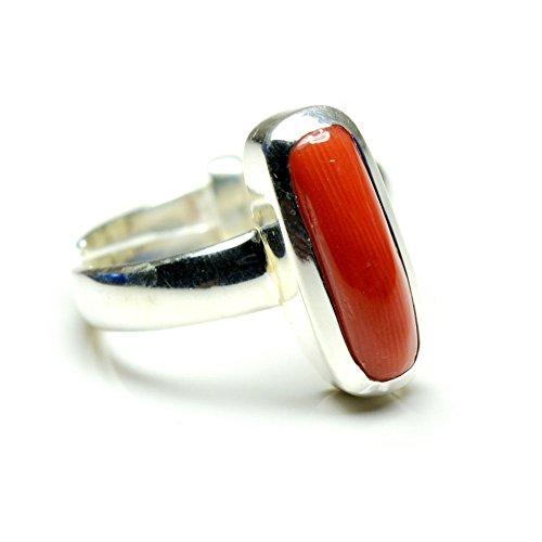 jewelryonclick Koralle rot Edelstein 5Karat echter Natur verstellbar 92,5Sterling Silber Ring
