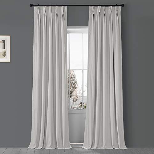 HPD Half Price Drapes VPCH-110602-96-FP Signature Pleated Blackout Velvet Curtain (1 Panel), 25 X 96, Porcelain White