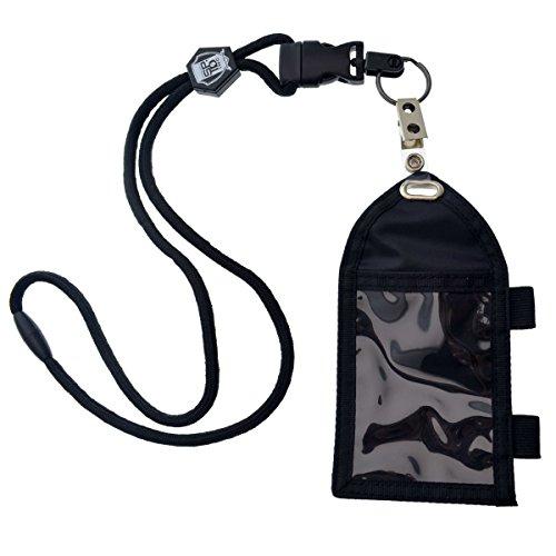 Ultimativer Nylon-Badge-Halter mit Stiftschlaufe, Schlüsselring und strapazierfähigem Lanyard von Specialist ID Schwarz